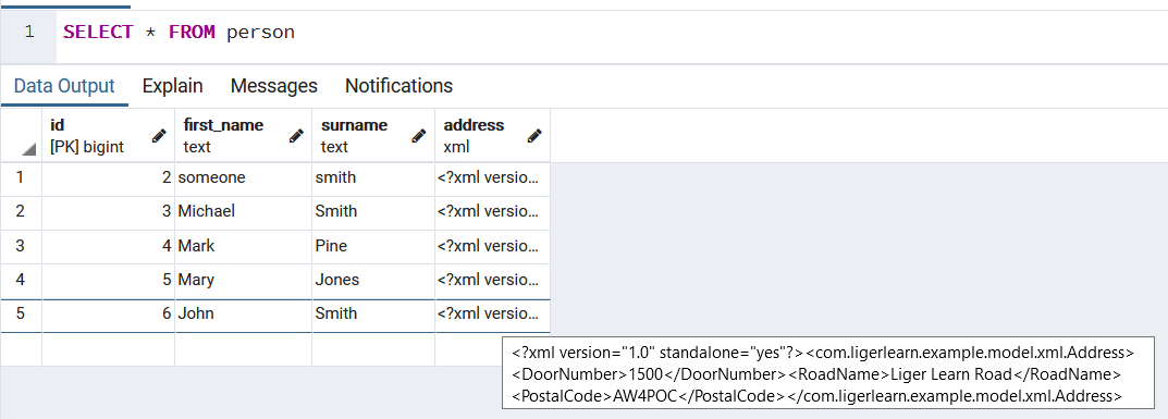 Illustrates the XML field has been stored in the DB.