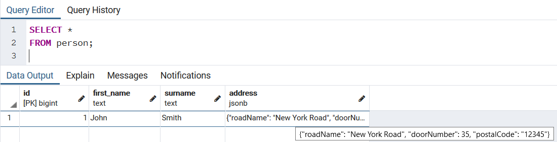Updated entity with JSON field as is persisted in DB